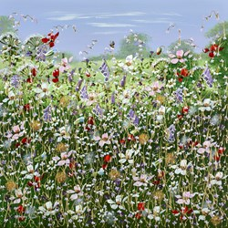Wild Fields II by Mary Shaw - Original Painting on Board sized 24x24 inches. Available from Whitewall Galleries